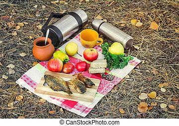 食物, コーヒー, 森, ピクニック