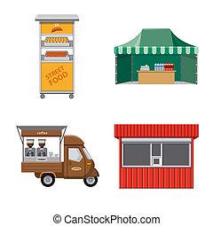 食物, シンボル, オブジェクト, web., 隔離された, コレクション, シンボル。, 外面, 市場, 株