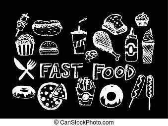 食物, シンボル, ベクトル, 速い, アイコン