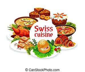 食物, スイス人, 料理, フレーム, ラウンド, ベクトル, 皿