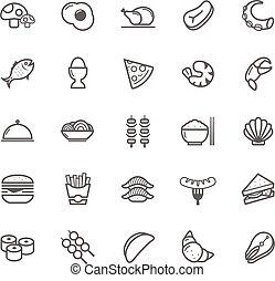 食物, ストローク, アウトライン, アイコン