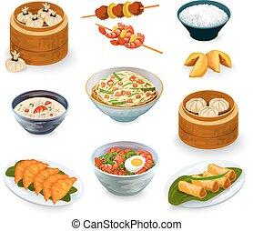 食物, セット, アジア人