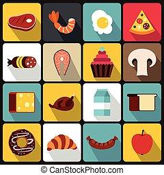食物, セット, スタイル, アイコン, 平ら