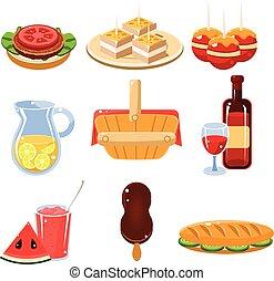 食物, セット, フランス語, アイコン