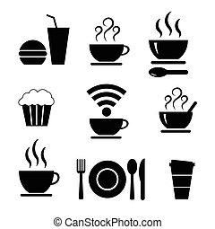 食物, セット, ベクトル, アイコン