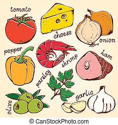 食物, セット, ベクトル