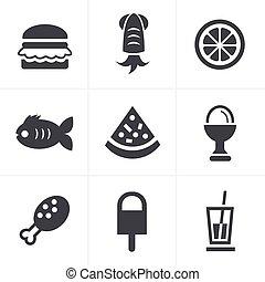 食物, セット, ベクトル, デザイン, アイコン
