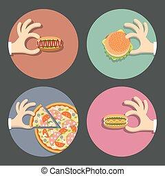 食物, セット, ベクトル, 速い, アイコン