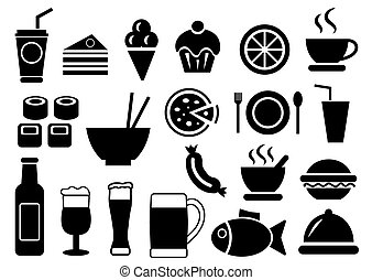 食物, セット, ベクトル, 飲みなさい, アイコン