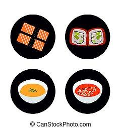 食物, セット, 日本語