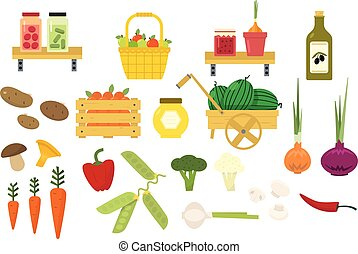 食物, セット, 有機体である, アイコン