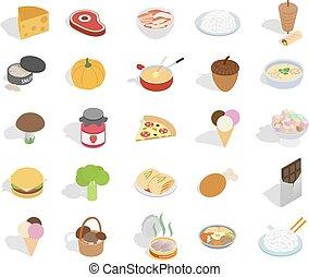 食物, セット, 等大, スタイル, アイコン