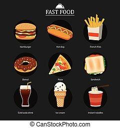 食物, セット, 背景, 黒板, 速い