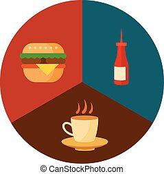 食物, セット, 速い, アイコン