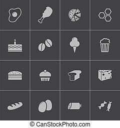 食物, セット, 黒, ベクトル, アイコン