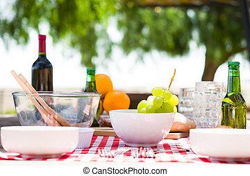 食物, テーブル, ピクニック, 飲み物