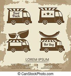 食物, トラック, セット, -, 型, ポスター, ∥で∥, 食物, トラック