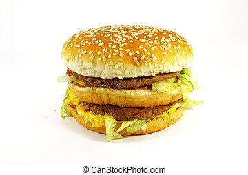 食物, ハンバーガー, 食事, 速い