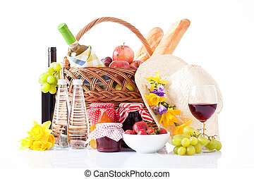 食物, バスケット, ワイン, ピクニック, ans