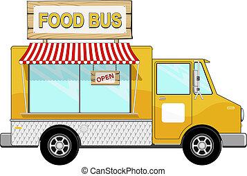 食物, バス, ∥で∥, 日除け, そして, 印 板
