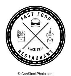 食物, バーガー, 速い, レストラン