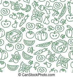 食物, パターン, 野菜, 食物, seamless, 野菜, ベクトル, 食事, 健康, バックグラウンド。, 未加工