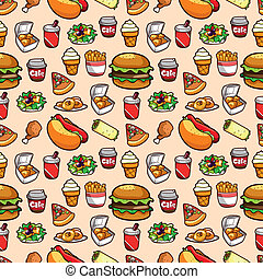 食物, パターン, seamless, 速い