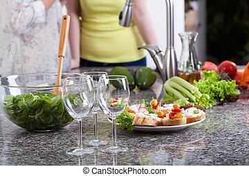 食物, パーティー, ガラス, ワイン