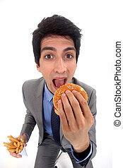 食物, ビジネスマン, がらくた, 食べること