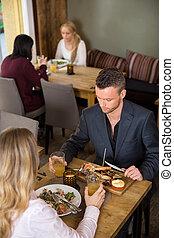 食物, ビジネスマン, 食べること, 女性