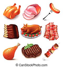 食物, ベクトル, セット, 肉, アイコン
