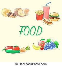 食物, ベクトル, illustration., カラフルである