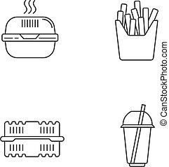 食物, ボール紙, set., 完全, フランス語, ベクトル, カップ, 線, editable, 隔離された, フライド・ポテト, テークアウト, pack., ピクセル, 容器, アイコン, バーガー, アウトライン, ストローク, drawing., パッケージ, 箱, わら, customizable, 線である, symbols.