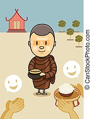 食物, ボール, 修道士, 寺院