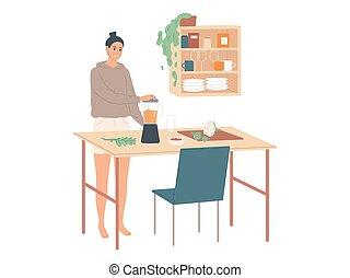 食物, ミキサー, 台所, 女, コック, 使うこと, 家