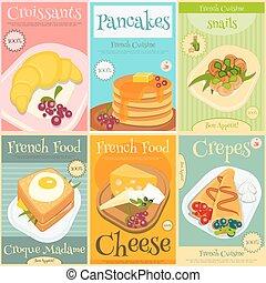 食物, ミニ, セット, フランス語, ポスター
