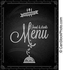 食物, -, メニュー, フレーム, 黒板