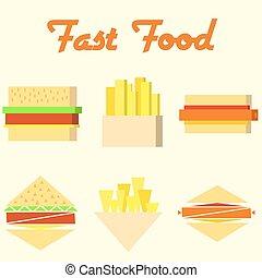 食物, モノラル, アイコン, 速い, シンボル, ベクトル