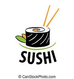 食物, ロゴ, ベクトル, 寿司, 日本語