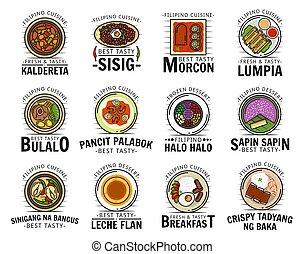 食物, ロゴ, kaldereta, sisig, 料理, メニュー, フィリピン人