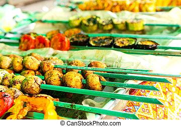 食物, 串, 野菜, picnic., 伝統的である, うそ, グリルされた, テーブル。
