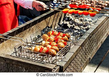 食物, 串, 野菜, picnic., 伝統的である, 暑い, coal., グリルされた, 揚げられている