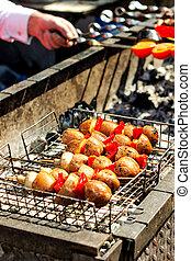 食物, 串, 野菜, vertical., picnic., 伝統的である, 暑い, coal., グリルされた, 揚げられている