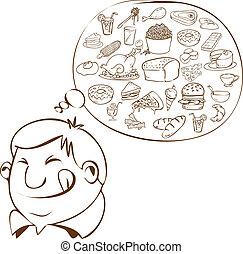 食物, 人, 脂肪, 夢を見ること
