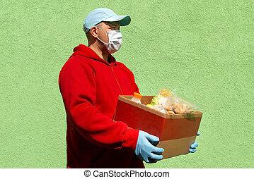 食物, 人, 食物, 箱, 助け, 寄付