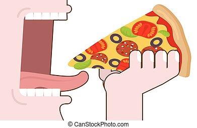 食物, 口, ピザ, 広く, tongue., pizza., 人, 食べること, 手。, 開いた, eating., 歯, 消費