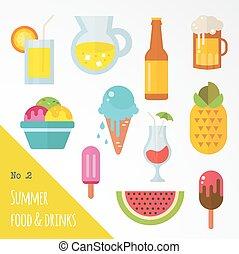 食物, 夏, セット, アイコン, 飲み物