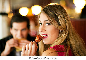 食物, 夫婦, 吃, 快, 餐館