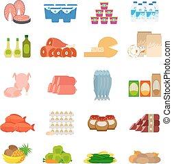 食物, 套間, 超級市場, 圖象