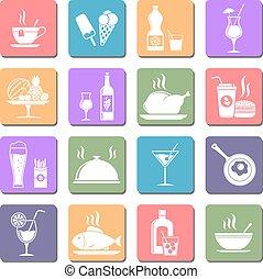 食物, 套間, 飲料,  &, 圖象